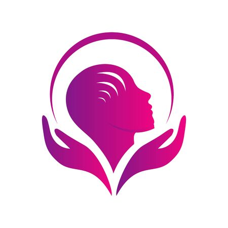 mental health care logo vector design head leaf hand template icon for medical and teraphy psychotherapy sign symbol Logo