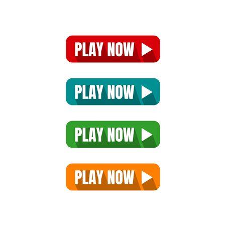bouton jouer maintenant quatre boutons d'appel à l'action modifiables en couleur illustrations vectorielles
