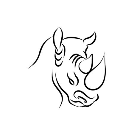 One line silhouette design of rhino.hand drawn minimalistic style vector illustration Illustration