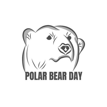 Polar bear day. Flat color vector isolated stock image of a polar bear on a white background