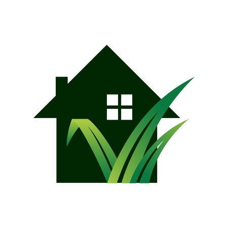 gardening landscaping logo design vector lawn and house illustrations Illustration