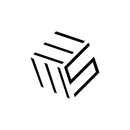 three 3 letter logo EMS combination modern alphabet vector creative company icon design illustration 矢量图像