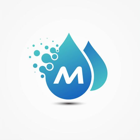 Droplet vector design with letter M symbol design minimalist. Letter M for your best business symbol. Ilustração