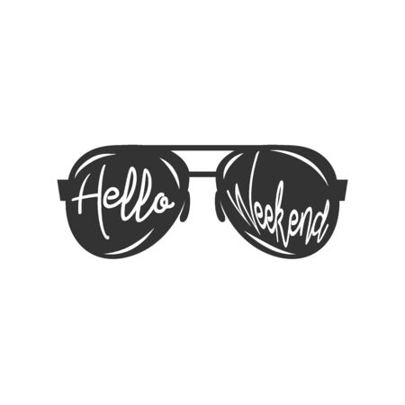 Modern Hand Lettering Quote, Hello Weekend, Vector Poster with phrase, Calligraphy Print, Pink Brush Stroke background, Typography Card