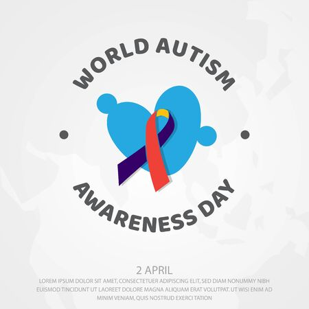 Colorful design World Autism Awareness Day with puzzle graphic. World Autism Awareness Day for banner, greeting card, poster or background design element. Illustration