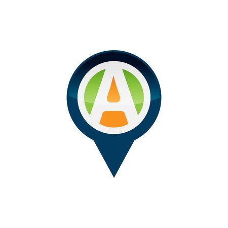 letter A GPS pointer icon design directional map pointer logo design vector illustration Illusztráció