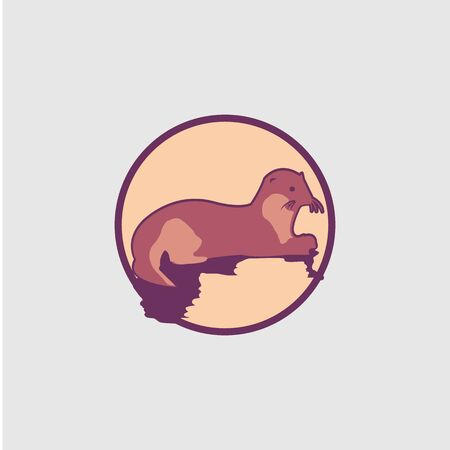 Vector weasel icon symbol on the white background. Flat design weasel for element design. Vector illustration