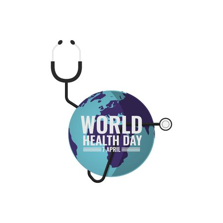 World health day background. Concept of World Health Day. Vector illustration with stethoscope and earth