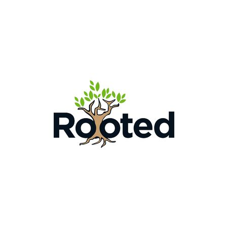 Letter rooted with tree roots on the white background. Flat design letter rooted for element design. Vector illustration
