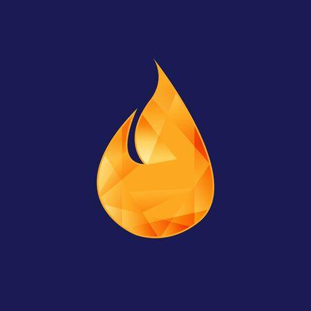 Creative design fire flame shiny like diamond. Flat design fire on the blue background. Vector illustration