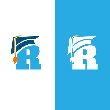 Initial letter R with graduation hat isolated white and blue background. Unique letter R in flat style. Vector illustration