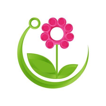 Technology design symbol with leaf and flower. Eco friendly technology symbol design in flat style. Vector illustration