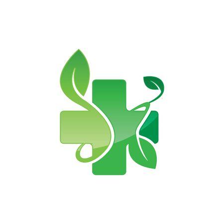 Nature health herbal medicine pharmacy logo design image vector template Logo