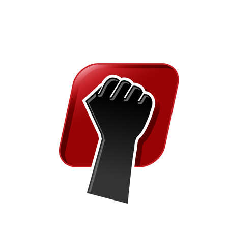 Illustration hand raises clenched fist of solidarity in silhouette style. Vector illustration