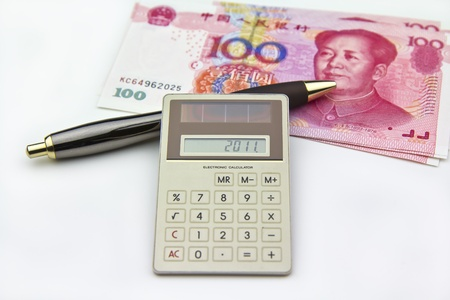 swaps: Photo session of calc showing 2011 for this year with Chinese Currency