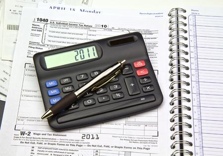 Last years (2010) Tax information shot under soft box lights.  photo