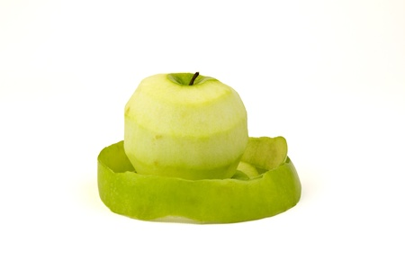 Green apple pealed down photo