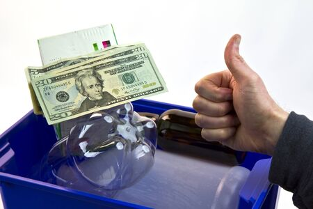 Recycle bin, cash, bottles, milk carton, and thumbs up Stock Photo - 8951744