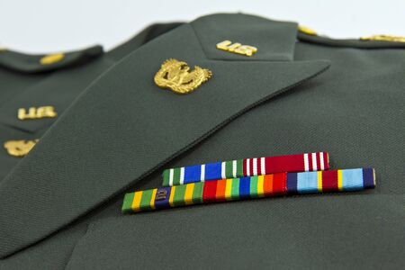 military uniform: United States Army awards on class A Green Uniform