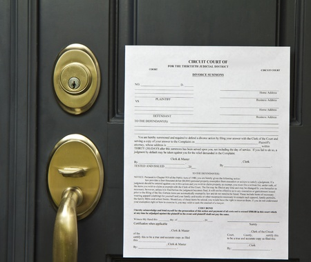 divorce court: Official divorce summons posted on front door