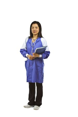 medical assistant: Asian lady serving as medical assistant on white background