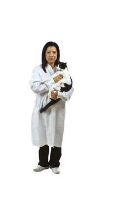 Veterinarian with white and black cat on white background photo