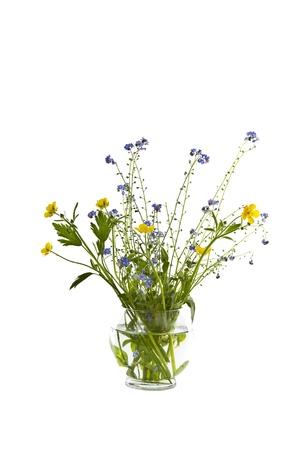 Seasonal wild flowers in glass vase on white background