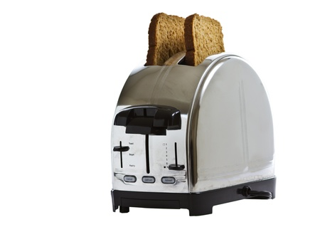 stainless steel toaster with fresh bread photo