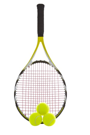 Modern tennis racket with three brand new balls Imagens