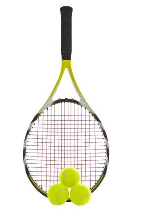 raqueta tenis: Raqueta de tenis moderno con tres bolas de nuevos