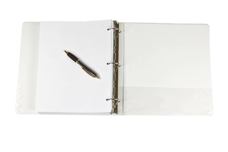 Three ring binder with pen and paper on white background