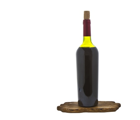 pinot: Red Wine in bottle and wooden placemat on white background