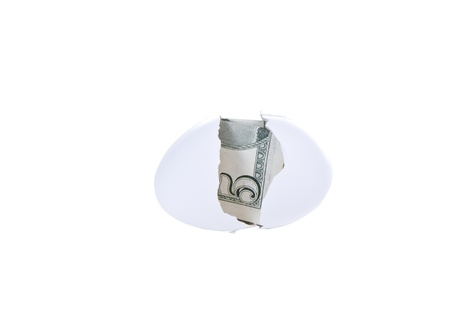 Broken egg shell with United States currency on white background photo