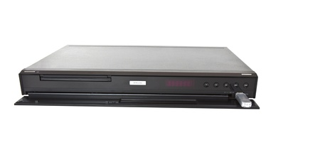 Multi Media blue ray player with thumb drive on white background
