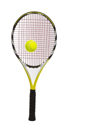 New tennis ball and racket on white background photo