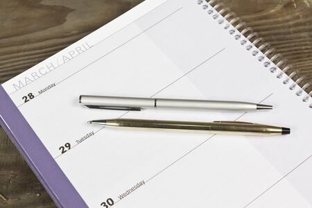 daily planner: Daily planner with two pens and wood background