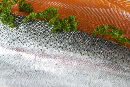 Wild caught trout fillets showing skin and red meat with parsley  photo