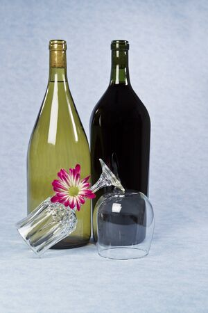 Red and white unopened wine bottles with glasses and flower on blue table cloth photo