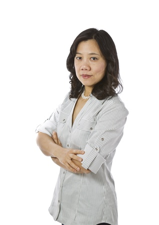 Asian women expressing content while wearing causal business clothing on white background Stock Photo - 12178489
