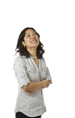 causal clothing: Asian women wearing business causal clothing and laughing on white background  Stock Photo