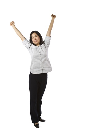 causal: Asian women wearing business causal clothing while stretching on white background Stock Photo