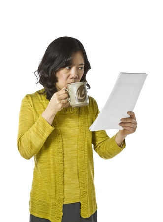 causal: Asian women reading report in business causal clothing on white background