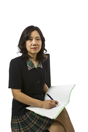 causal clothing: Asian women with paper and pen in business causal clothing on white background