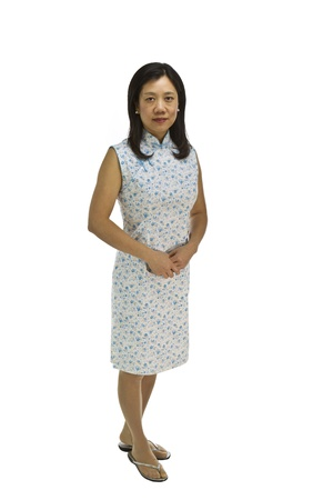 causal clothing: Asian women dress in causal clothing on white background
