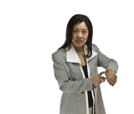 snarl: Asian Women with snarl on her face dressed in business formal on white background Stock Photo