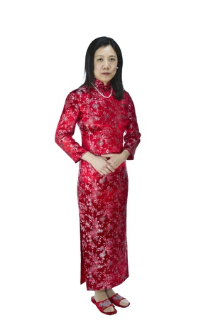 Asian women dressed in traditional Chinese outfit on white background Reklamní fotografie