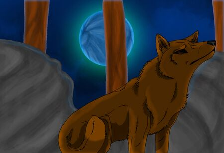 Computer drawing of wolf at night under blue moon photo