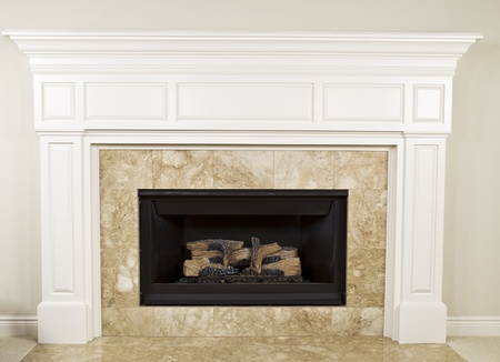 Natural gas insert fireplace with large mantel