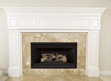 insertar: El gas natural inserto con chimenea repisa de la chimenea grande