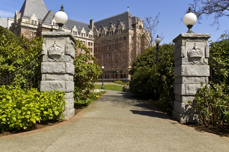 bc: Entrance way to capital building of Victoria Canada with blue sky in background